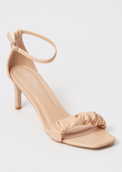 tan square toe ruched midi heels - Main Image