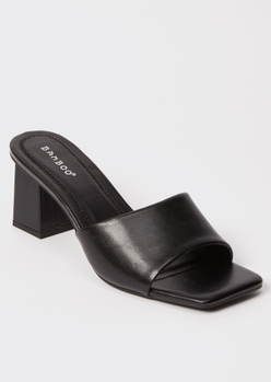black square toe block heel mules - Main Image