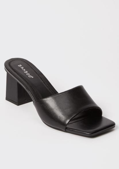 black square toe block heel mules - Main Image