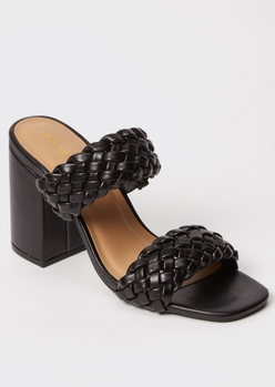 black square toe braided block heels - Main Image