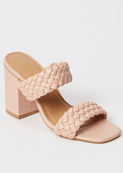pink square toe braided block heels - Main Image