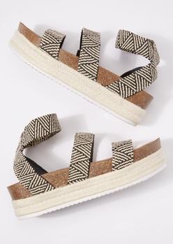 black striped strap cork espadrilles - Main Image