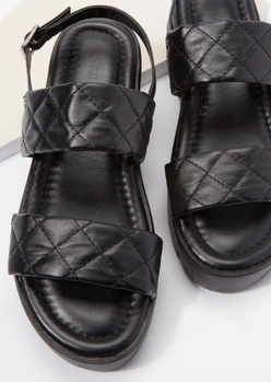 black quilted double strap lug sole sandals - Main Image