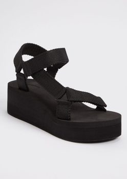 black platform wedge sports sandals - Main Image