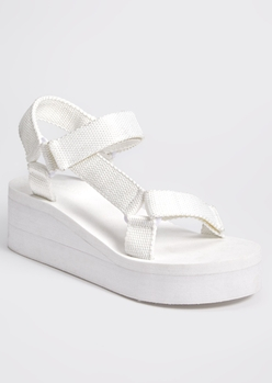 white platform wedge sports sandals - Main Image