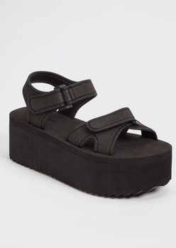 black flatform sports sandals - Main Image