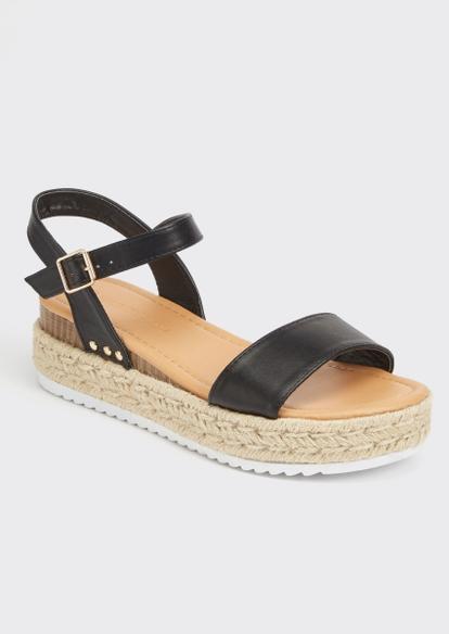 black espadrille wedge platform sandals - Main Image