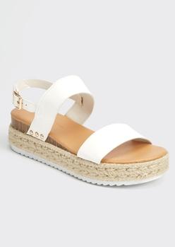 white espadrille wedge platform sandals - Main Image