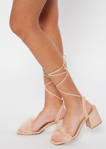 taupe boa square toe heels - Main Image