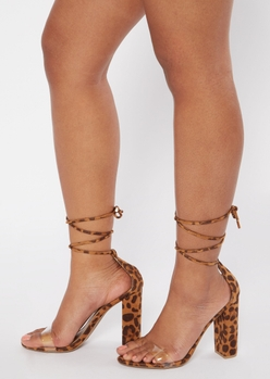 leopard print lace up block heels - Main Image