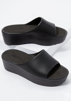 black faux leather flatform slides - Main Image