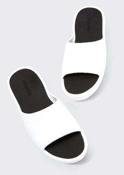 white faux leather flatform slides - Main Image