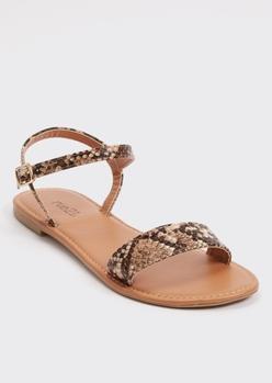 snakeskin ankle strap sandals - Main Image