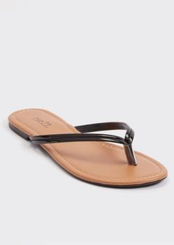black faux leather flip flops - Main Image
