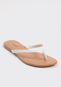 white faux leather flip flops - Main Image
