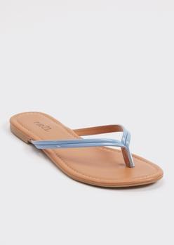 blue faux leather flip flops - Main Image