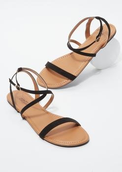 black faux suede criss cross ankle strap sandals - Main Image