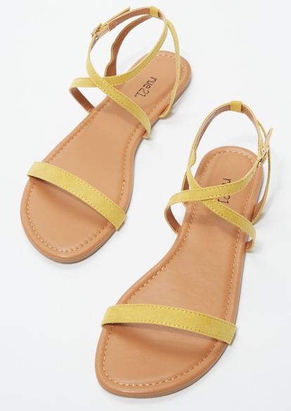 yellow faux suede criss cross ankle strap sandals - Main Image