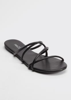 black crisscross strap flip flop sandals - Main Image