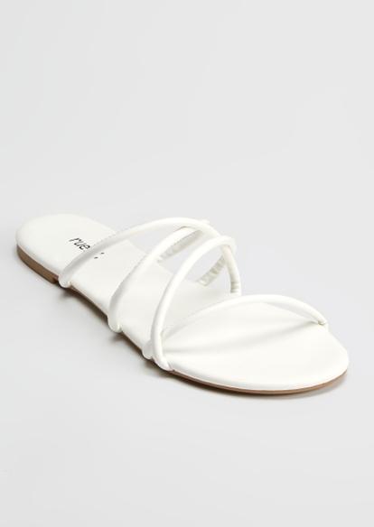 white crisscross strap flip flop sandals - Main Image