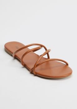 cognac crisscross strap flip flop sandals - Main Image