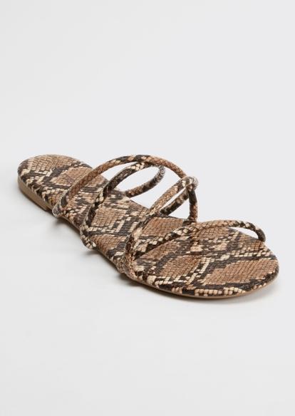 snakeskin print crisscross strap flip flop sandals - Main Image