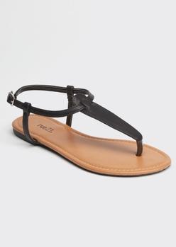 black t strap thong sandals - Main Image