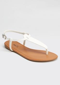 white t strap thong sandals - Main Image