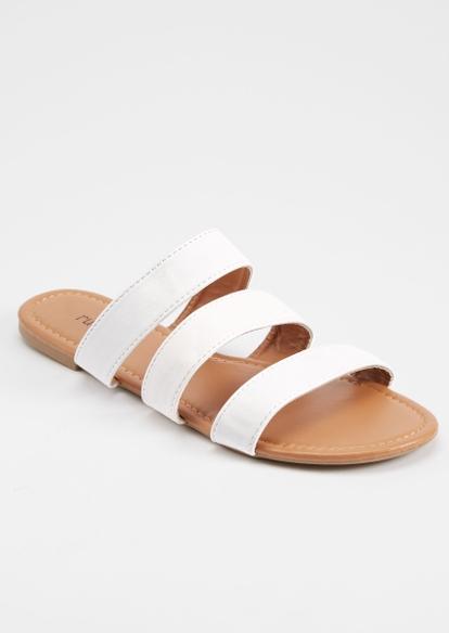 white triple band slide sandals - Main Image