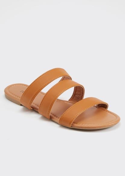 cognac triple band slide sandals - Main Image