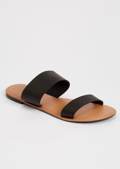 black double strap sandals - Main Image