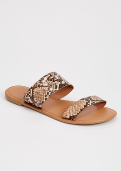 snakeskin double strap sandals - Main Image