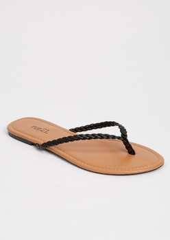 black braided flip flops - Main Image
