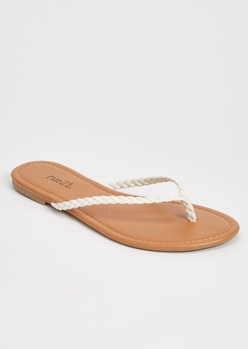 white braided flip flops - Main Image
