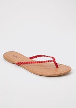 red braided flip flops - Main Image
