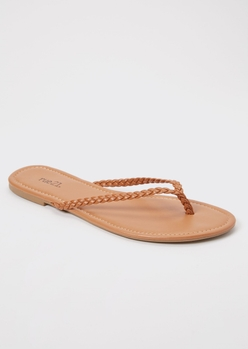 camel braided flip flops - Main Image