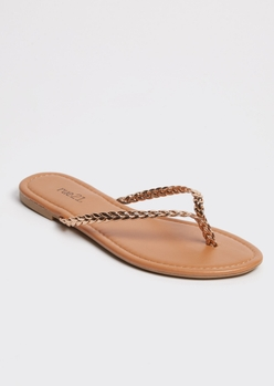 rose gold braided flip flops - Main Image