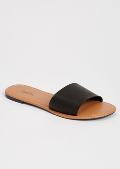 black single strap sandals - Main Image