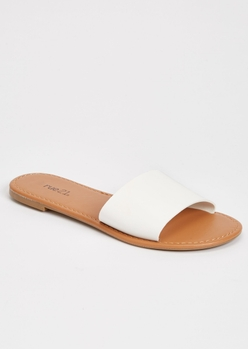 white single strap sandals - Main Image