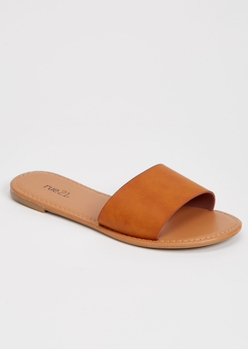 camel single strap sandals - Main Image