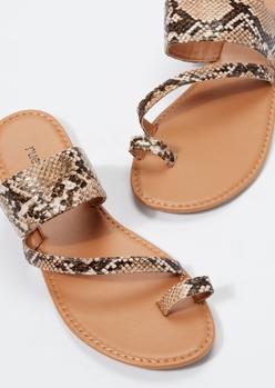snakeskin print toe loop flip flops - Main Image