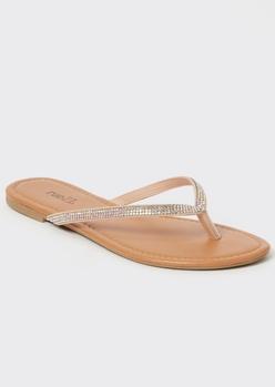 beige rhinestone strap flip flops - Main Image