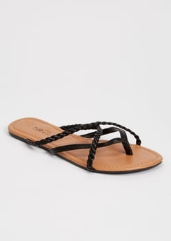 black braided strappy flip flops - Main Image