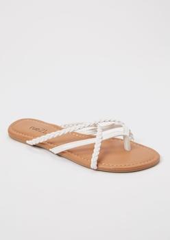 white braided strappy flip flops - Main Image