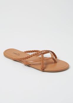 cognac braided strappy flip flops - Main Image