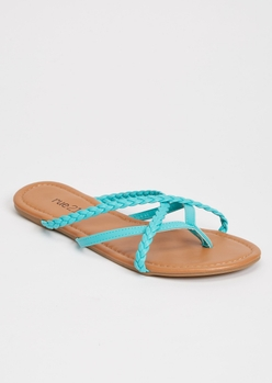 teal braided strappy flip flops - Main Image