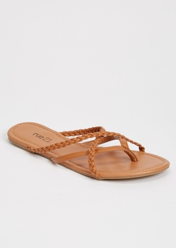 camel braided strappy flip flops - Main Image