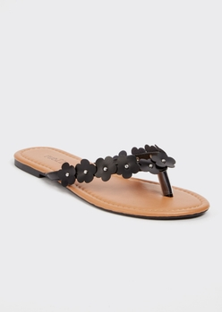 black daisy flip flops - Main Image