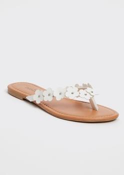 white daisy flip flops - Main Image