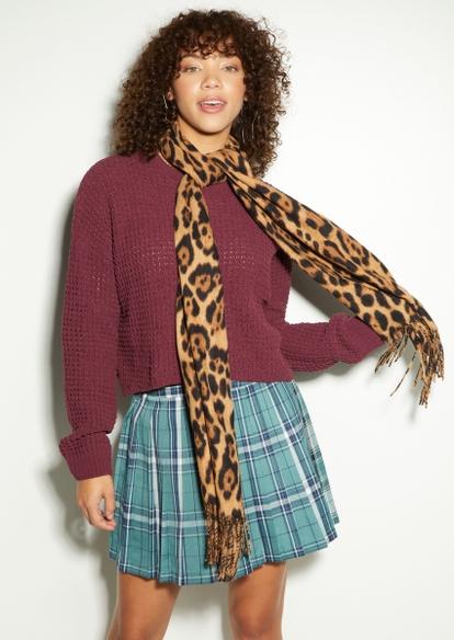 leopard print noodle scarf - Main Image
